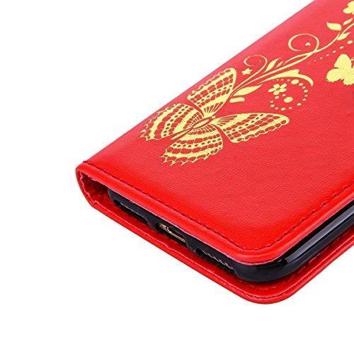 JAWSEU Coque pour iPhone 7,iPhone 7 Portefeuille Coque en Cuir,iPhone 7 Cover Flip Wallet Case Ultra Slim,2017 Neuf Femme Homme Luxury Retro Gold/Oro Butterfly Papillon Motif Leather Pu Folio Etui Hou Rouge/Gold Butterfly