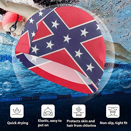 BigHappyShop Kids Swimming Cap Two Sides Printed Flag Silicone Waterproof Swim Cap Bathing Hair Quick Drying for Kids