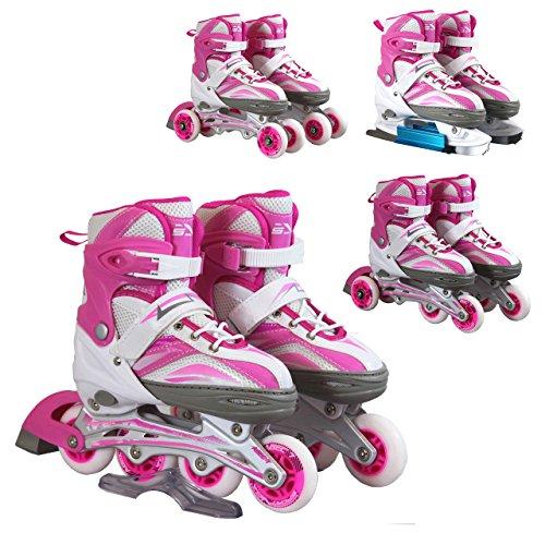 Inline Skates Kinder Erwachsene | SportVida | Inliner 4in1 | Verstellbare Schlittschuhe | Triskates Größenverstellbar ABEC7 Lager | Rollschuhe in Größen 31-42 | Pink Blau Grün Türkis (Pink, 39-42)
