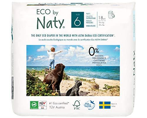 Eco by Naty, Premium-Bio‑Höschenwindeln, Größe 6, 18 Stück, 16+ kg, aus pflanzenbasierten Materialien, frei von gefährlichen Chemikalien