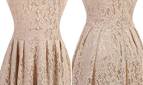 Ai.Moichien Retro 1950s manicotto rotondo del collo del merletto floreale dell'annata pieghettato un vestito dalla damigella d'onore del partito di linea Champagne