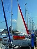Navyline Sturmfock für Rollsegel - weiß mit roten Kanten- erhältlich in verschiedenen Größen -, Größe:15m²