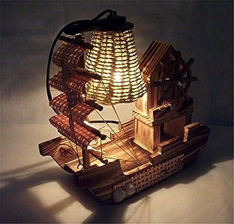 Lampe De Table En Bois Pour Bateaux Personnalité Créative Maison Nouveauté Chambre Décoration Ornements Cadeaux Artisanat Lampes