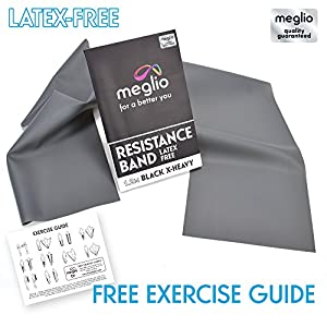 Meglio Resistance Bands Latex Free for Mobility Strength & Rehab Premium Quality 1.2 Metre Length - Exercise Guides Included