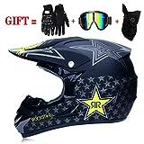 M-GLT Motocross-Helm, Motorradhelm für Offroad-Motorradhelm mit Handschuhmaskenbrille (Schwarz 2,...