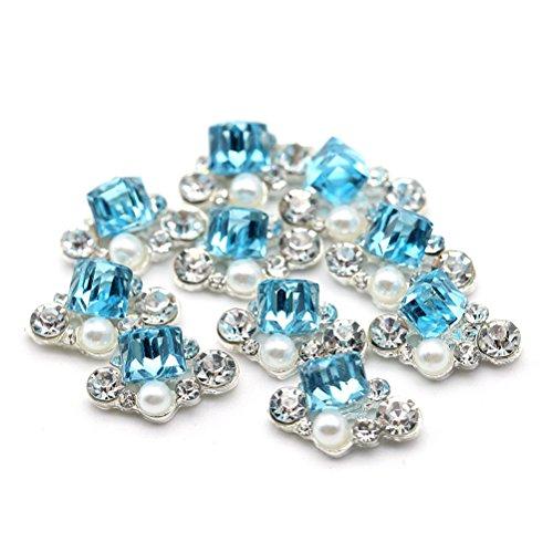 Five Season 10 pcsBling Decoration Perles Bijou Cristal Accessoire Alliage Nail Art Manucure, 1.3*0.8cm, Bleu*Argent