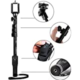 Growth Best Quality Selfie Stick With Bluetooth Remote Control Shutter For Mobile Phones, DSLR, And Sports Cameras Bluetooth V4.1 - B078GPWTYW