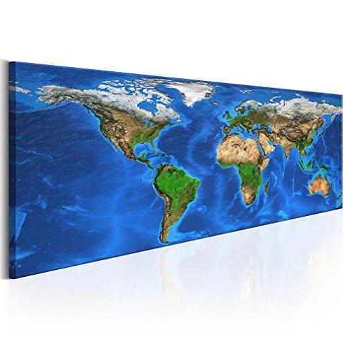 decomonkey Bilder Weltkarte 150x50 cm XXL 1 Teilig Leinwandbilder Bild auf Leinwand Wandbild Kunstdruck Wanddeko Wand Wohnzimmer Wanddekoration Deko Welt Karte Landkarte Kontinente (Landkarte Welt Auf Leinwand)