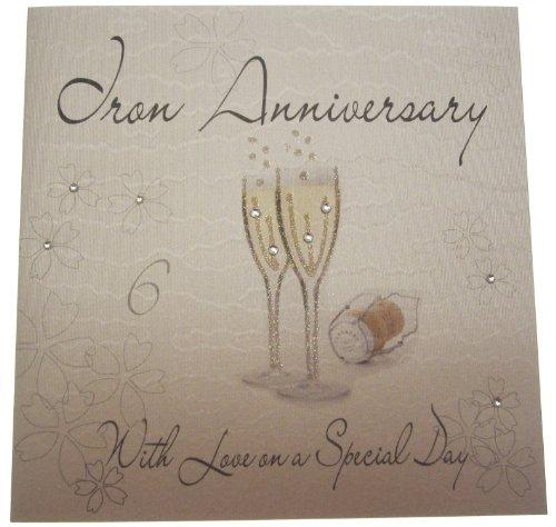 WHITE COTTON CARDS WA6 champagner Glases 6. Hochzeitstag, Jubiläum, handgefertigt, Weiß