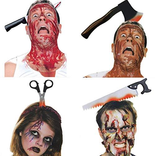 Im Axt Kostüm Kopf - Frmarche 4PCS Halloween Dekoration Stirnband Haarband Horror Blutfleck Messer Säge Schere Axt für Party Kopfbedeckung Kostüm Zubehör