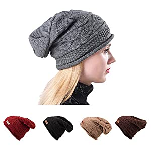 Amphia – Männer Warm Crochet Winter Plus Samt Plaid Gehörschutz Slouchy Hut,Frauen Winter Plissee Muster Pullover Mütze…