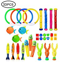 Pool Diving Toys For Kids, 33PCS Underwater Sinking Swimming Set With 4 Dive Sticks, 4 Swim Through Rings, 12 Pirate Treasures, 4 Throw Toypedo Bandits, 3 Water Grass, 3 Chest Fish, 3 Stringy Octopus