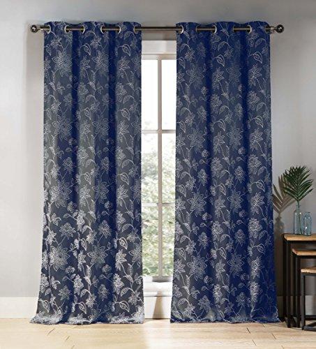 Denim Vorhänge (DUCK River Textil floral Tülle Fenster Vorhang 2Panel Fall Set, Denim, 38x 84)