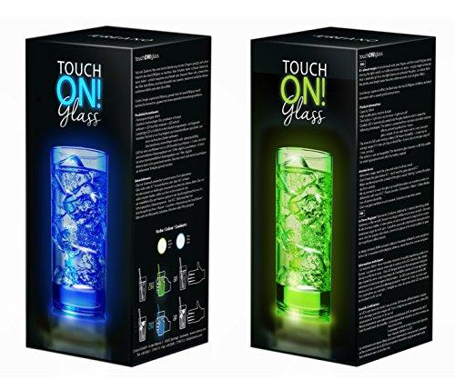touchON!glass Creano Ausgefallenes Trinkglas / Longdrinkglas touchON!glass, Leuchtglas mit LED-Lichteffekt | 300ml, Set: blau / grün