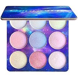 Paleta iluminadora de 9 colores, polvo de crema suave, paleta de maquillaje, kit de brillo
