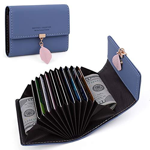 UTO Portafoglio Donna Foglia Pendente Porta carte di credito 12 slot per schede in Pelle sintetica morbido organizzatore della fisarmonica Blu