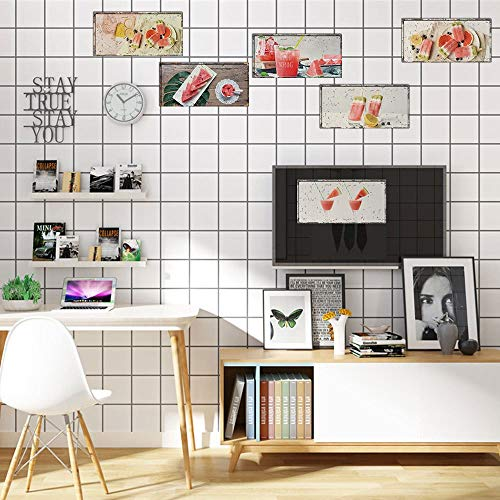 WALSTICKEL Wandtattoos Retro Platte Wandaufkleber Restaurant Bar Dekoration Geschnitten Wassermelone Poster Kunst Wandbild Aufkleber