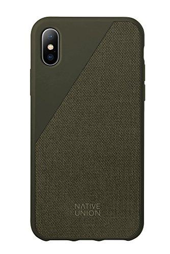 Native Union CLIC Canvas Case für iPhone X - Fallbeständiges Schutz-Cover - aus Hochwertigem Gewebe (Olive)