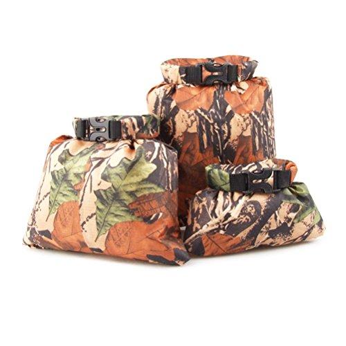WINOMO 3pcs 1,5 L + 2,5 L + 3,5 L wasserdicht Dry Bag Beutel Aufbewahrungsbeutel für Camping Bootfahren Kajak Rafting Fischen (Camouflage)