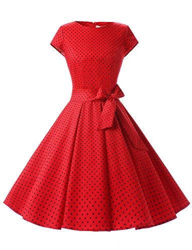 Dressystar Damen Vintage 50er Cap Sleeves Dot Einfarbig Rockabilly Swing Kleider Rot Schwarz Dot A M Fan-kleid