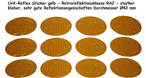 UvV-Shop Reflektoren Sticker Aufkleber, 12 Stück Ø42 mm Sicherheit durch reflektierende Folie (gelb-2)
