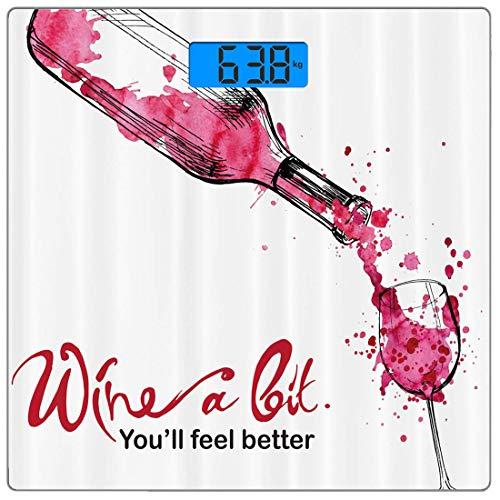 Precision Digital Body Weight Scale Wein Ultra Slim Gehärtetes Glas Personenwaage Genaue Gewichtsmessungen, Wein, den Sie fühlenBesseres inspirierendes Zitat-Flaschen-Gießen-Skizzen-Kunst