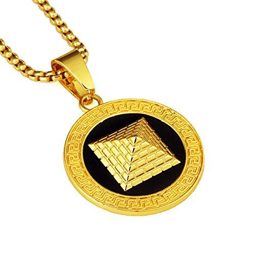 nyuk da uomo Golden piramide in lega di zinco oro 18K catene collane catena gioielli ciondolo collana, Lega, colore: Gold, cod. W-1842