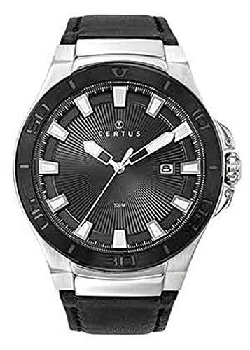 Certus–Reloj Hombre–h611m133–Pulsera Cuero Negro–Reloj Negro–Date
