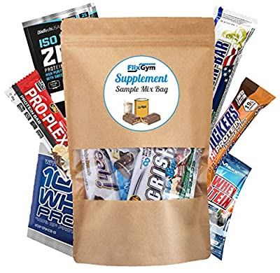 Supplement Sample Mix Box Bag - verschiedene Fitnessriegel + verschiedene Shakes diverser bekannter Markenhersteller | Auch als Fitness Geschenk ideal | abwechslungsreich & lecker | FlixGym