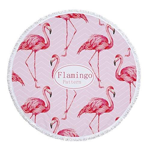GBYJ Badetuch groß Strandtuch mit Quaste Floral Flamingo Geschenk Bad Dusche Handtuch für Erwachsene 500g Mikrofaser 150cm Picknick Yoga Matte Decke Teppich