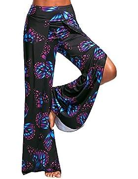 Mujer Pantalones Anchos de Pierna Impresion Largo Pantalón Suave Fresco Yoga Fitness Deportes Tallas Grandes