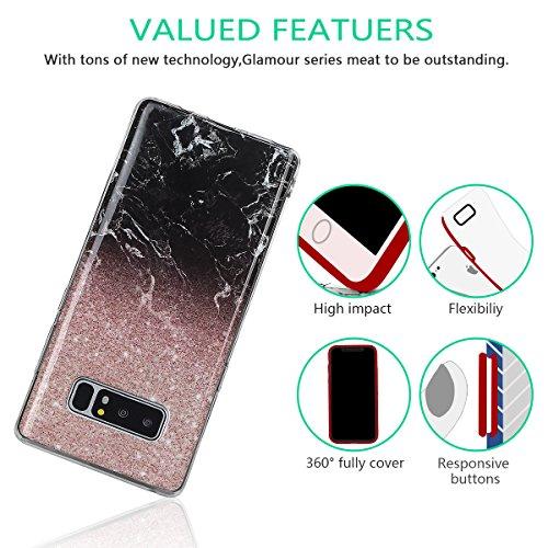 xhorizon MLK [Modèle de marbre] Couverture d'étui avec peau de bonbons en Caoutchouc souple TPU léger et ultra mince pour Samsung Galaxy Note 8 avec 9H film de protection verre trempée #06