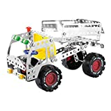Metal Build-n-Play Assemble Disassemble Vehicle Creative Construction Building Block Kit Vehicle Copter Model Building Toy ,192 Pcs (Truck)