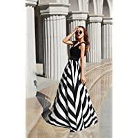 Round Neck Sleeveless Waves Pattern Maxi Dress For Women Party Wear Clubwear