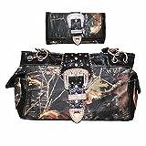 Texas West Frauen DER Schnalle Leder Schultertasche Medium Kw05 schwarze Handtasche
