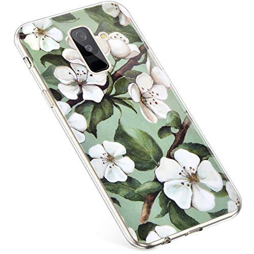 Uposao Kompatibel mit Samsung Galaxy A6 Plus 2018 Hülle Durchsichtige Handyhülle Bunt Muster Crystal Clear Transparent Silikon TPU Case Ultra Dünn Weiche Stoßfest Schutzhülle,Kirschblüte Blumen