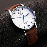 Sports Watches Relojes de Hombre YAZOLE Hombre Reloj de Pulsera Cuarzo Piel Banda Negro Marrón Negro Marrón Relojes de Mujer (Color : Negro)