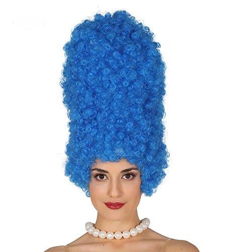 shoperama Marge Simpson Bienenstock Perücke Locken Blau Turmfrisur Haare Simpsons Serie