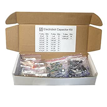 Electrobot Labeled 18 Values Ultimate Capacitor Kit (Pack of 555)
