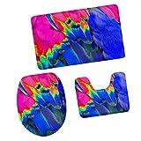 MagiDeal 3pcs Badematten Set Badezimmer Non-Slip Sockel Teppich + Deckel WC-Abdeckung + Badematte, Bunte Feder Muster - Bunte Feder # 4, 79x49cm
