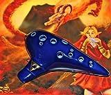 Zelda Ocarina AC 12-Loch dunkelblau mit Polstertasche, Notenbuch mit Grifftabelle in fester, dekorativer Kartonbox