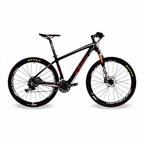 beiou® 650B Mountain Bike 27.5-inch 10,7kg T800Karbonfaser Ultralight Rahmen 30Speed Shimano-Deore MTB matt 3K CB20 schwarz matte black 19-Inch