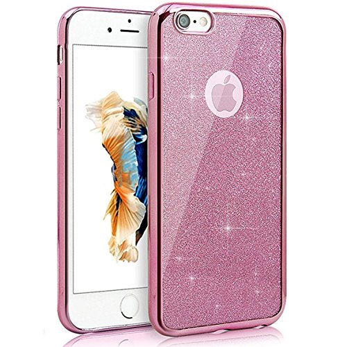 Coque Housse Etui pour iPhone 7/iPhone 8, iPhone 7/8 d'or Coque en Silicone Placage Coque Clair Ultra-Mince Etui Housse Glitter Paillette,iPhone 7 Silicone Case Gold Slim Soft Gel Cover with Diamond,  Glitter-Rose