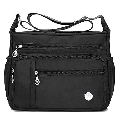 Crossbody Handtaschen Casual Umhängetaschen für Frauen Wasserdichte Nylon Messenger Bags (Schwarz1) (Canvas-nylon-geldbörse)