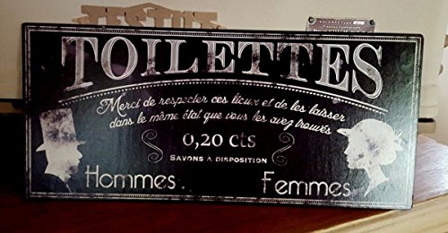 Plaque « toilettes,merci de respecter,,, noire»16*36 cm