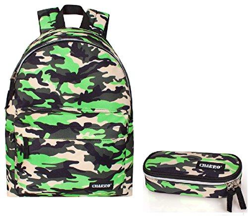 Charro zaino scuola americano mimetico fantasia militare verde fluo + astuccio scuola portapastelli cartella ragazzo medie superiori liceo