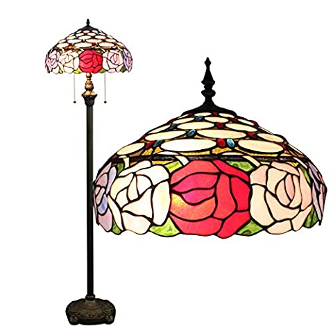 Gweat Tiffany 16 pouces européenne pastorale style main Stained Glass Bead Rose élégant Tiffany Floor Lamp