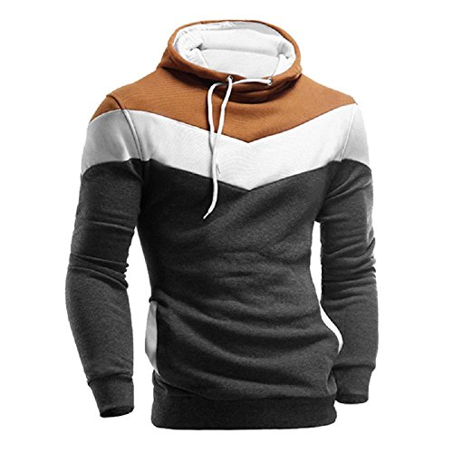 Herren Jacke Kapuzenpullover Kapuzensweater Hoodie Pullover Freizeithemd Langarm Sweatshirt Winterjacke Übergangsjacke Patchwork Long Sleeve Pullover Coat Stand Collor Sweater Outwear (Tiefes Grau, M)