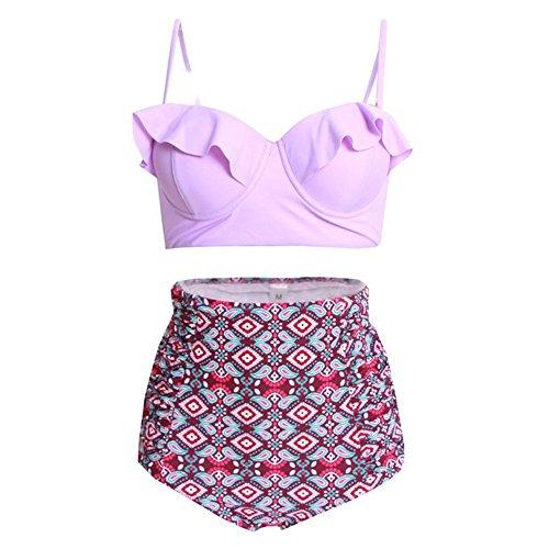 Hibote Vintage Retro Bikinis, Women Swimsuit High Waist Swimwear Lady Bandage Sexy Halter Top + Hot Pants Bikini Set Beachwear 17 Colors S-4XL