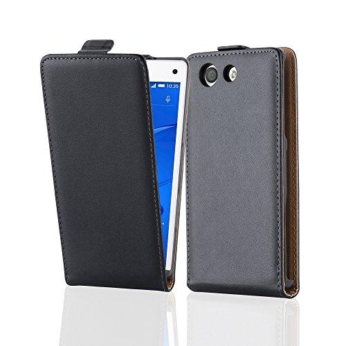 Preisvergleich Produktbild Cadorabo Hülle für Sony Xperia Z3 Compact Hülle in KAVIAR Schwarz Handyhülle aus Glattem Kunstleder im Flip Design Case Cover Schutzhülle Etui Tasche Kaviar-Schwarz